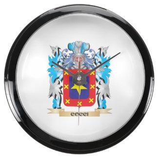Cocci Coat of Arms - Family Crest Aqua Clock