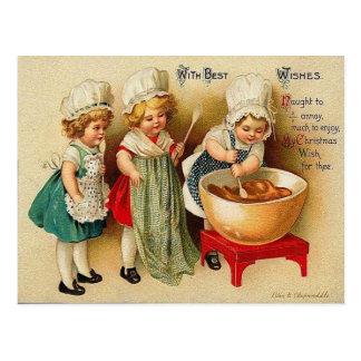 Cocer una postal del vintage del pudín de ciruelo
