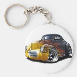 Coche 1941 de las Negro-Llamas de Willys Llavero Redondo Tipo Pin