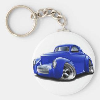 Coche 1941 del azul de Willys Llavero Redondo Tipo Pin