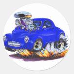 Coche 1941 del azul de Willys Pegatina Redonda
