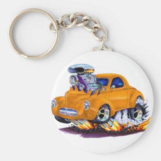 Coche 1941 del naranja de Willys Llavero Redondo Tipo Pin