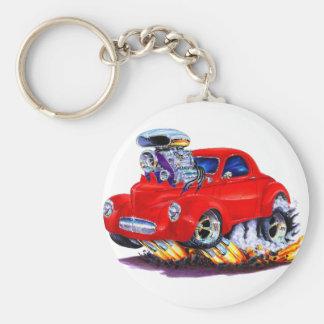 Coche 1941 del rojo de Willys Llavero Redondo Tipo Pin