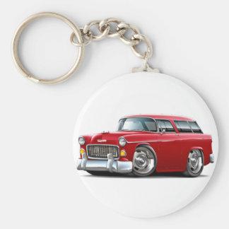 Coche 1955 del rojo del nómada de Chevy Llavero Redondo Tipo Pin