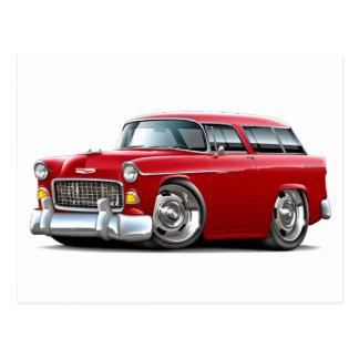 Coche 1955 del rojo del nómada de Chevy Postales