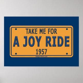 Coche 1957 del paseo de la alegría póster