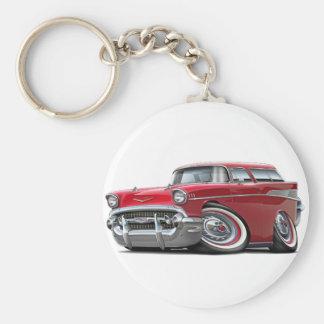 Coche 1957 del rojo del nómada de Chevy Llavero Redondo Tipo Pin