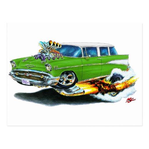 Coche 1957 del verde del nómada de Chevy Postal