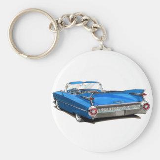 Coche 1959 del azul de Cadillac Llavero Redondo Tipo Pin