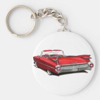 Coche 1959 del rojo de Cadillac Llavero Redondo Tipo Pin
