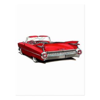 Coche 1959 del rojo de Cadillac Postal