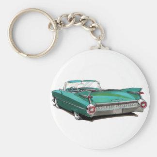Coche 1959 del trullo de Cadillac Llavero Redondo Tipo Pin