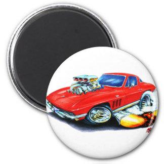 Coche 1965 del rojo del Corvette Imán Redondo 5 Cm