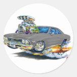 Coche 1966 del gris de Chevelle Etiquetas Redondas
