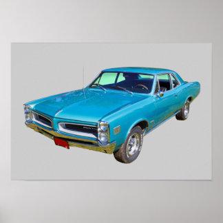 Coche 1966 del músculo de Pontiac Le Mans del azul Poster