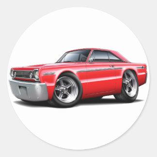 Coche 1966 del rojo del belvedere pegatina redonda