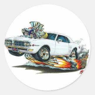 Coche 1967-68 del blanco de Firebird Pegatina Redonda