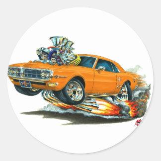 Coche 1967-68 del naranja de Firebird Pegatinas Redondas