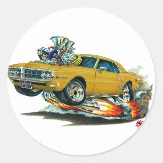 Coche 1967-68 del oro de Firebird Pegatinas Redondas