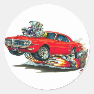 Coche 1967-68 del rojo de Firebird Pegatinas Redondas