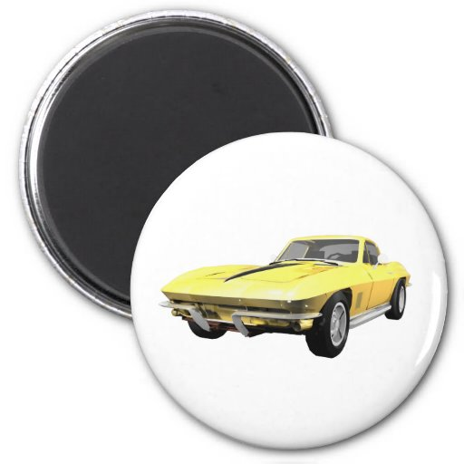 Coche 1967 de deportes del Corvette: Final amarill Imán Redondo 5 Cm