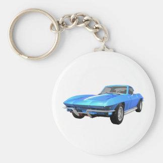Coche 1967 de deportes del Corvette: Final azul: Llavero Redondo Tipo Pin
