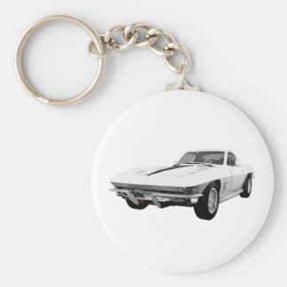 Coche 1967 de deportes del Corvette: Final blanco: Llavero Redondo Tipo Pin