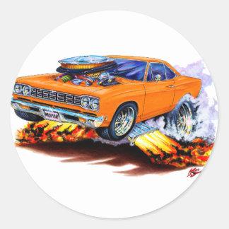 Coche 1968-69 del naranja del Roadrunner Pegatina Redonda