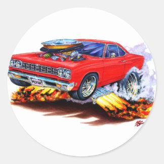 Coche 1968-69 del rojo del Roadrunner Pegatina Redonda