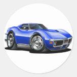 Coche 1968-72 del azul del Corvette Pegatina Redonda