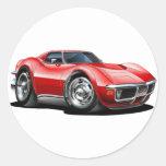 Coche 1968-72 del rojo del Corvette Etiquetas Redondas