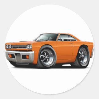 Coche 1969 del naranja del Roadrunner Pegatina Redonda