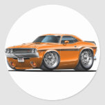 Coche 1970-72 del naranja del desafiador etiquetas redondas