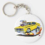 Coche 1970-74 del amarillo del plumero de Plymouth Llavero Redondo Tipo Pin