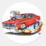 Coche 1970-74 del rojo del plumero de Plymouth Etiquetas Redondas