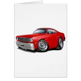 Coche 1970-74 del rojo del plumero tarjeta de felicitación