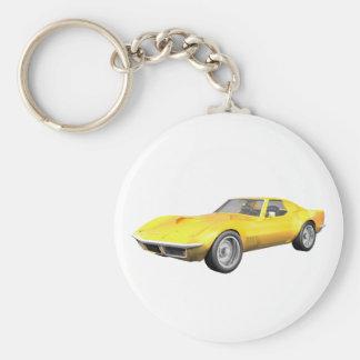 Coche 1970 de deportes del Corvette: Final amarill Llavero Redondo Tipo Pin