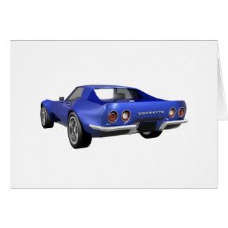 Coche 1970 de deportes del Corvette: Final azul Tarjeta De Felicitación
