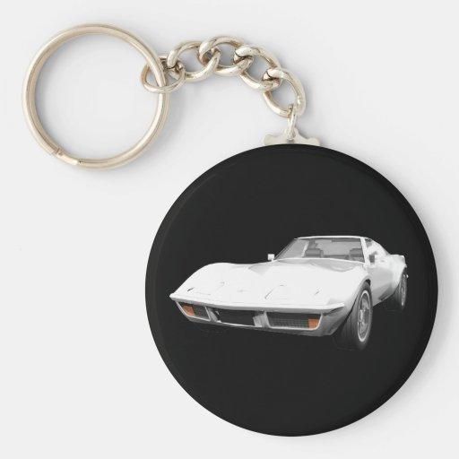 Coche 1970 de deportes del Corvette: Final blanco Llavero Redondo Tipo Pin