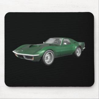 Coche 1970 de deportes del Corvette: Final verde Mousepads