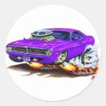 Coche 1970 de la púrpura de Cuda Etiqueta Redonda