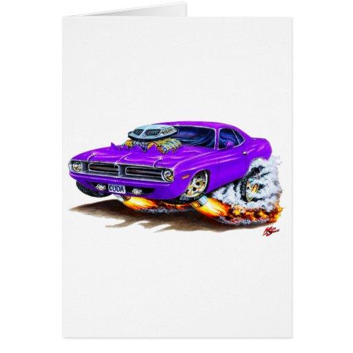 Coche 1970 de la púrpura de Cuda Felicitaciones