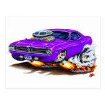 Coche 1970 de la púrpura de Cuda Tarjetas Postales