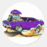 Coche 1970 de la púrpura de Plymouth Cuda Pegatina Redonda