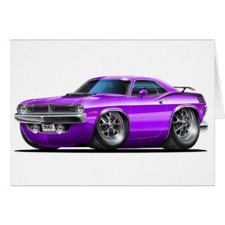 Coche 1970 de la púrpura de Plymouth Cuda Tarjetón