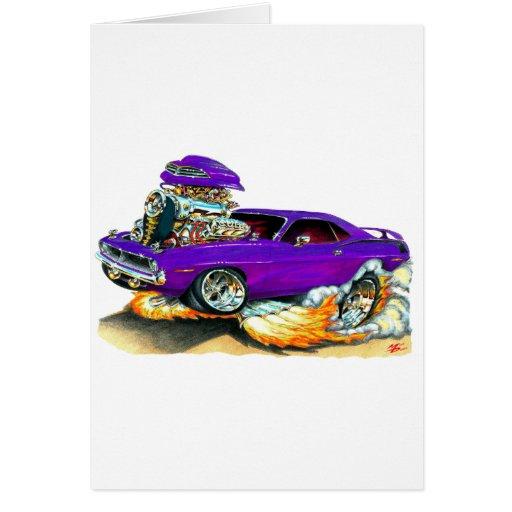 Coche 1970 de la púrpura de Plymouth Cuda Tarjeton