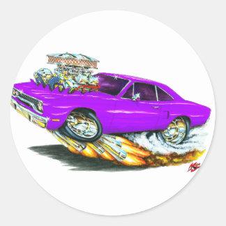 Coche 1970 de la púrpura del Roadrunner Pegatina Redonda