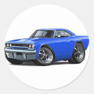 Coche 1970 del azul del Roadrunner Pegatina Redonda