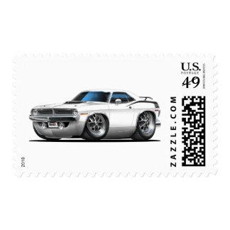 Coche 1970 del blanco de Plymouth Cuda Envio