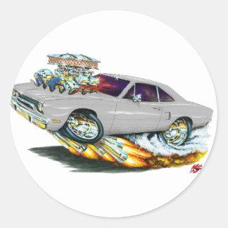 Coche 1970 del gris del Roadrunner Pegatina Redonda